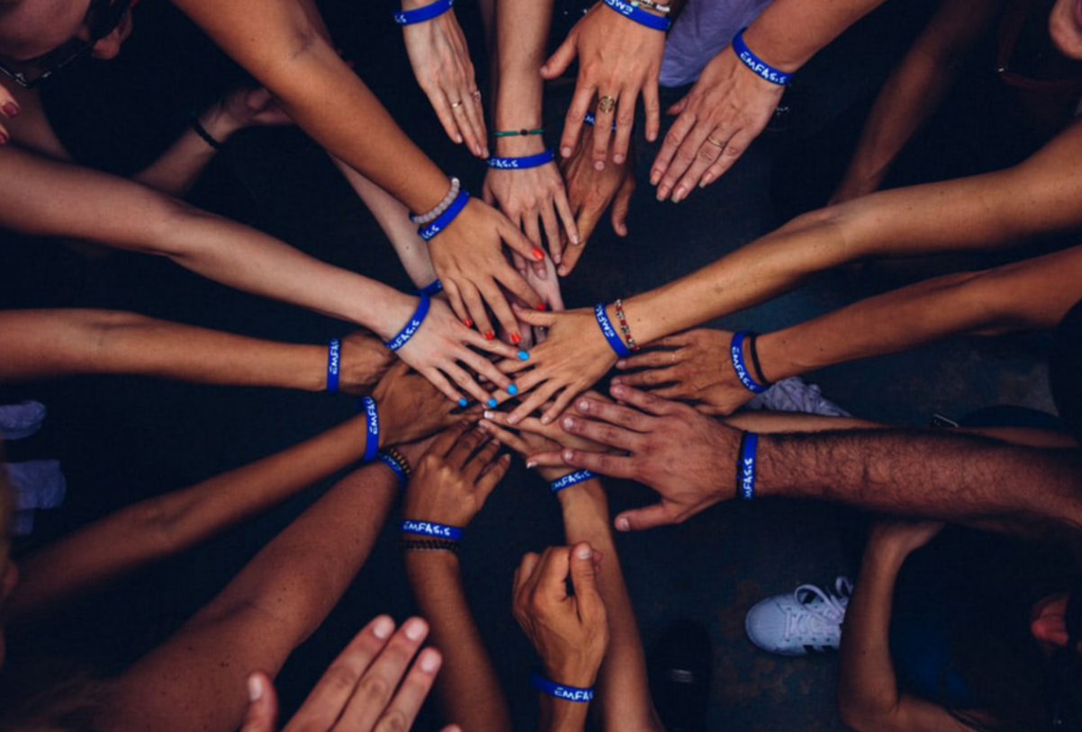 Group people hands